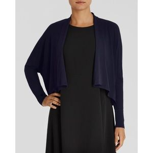Eileen Fisher Blue Silk Crop Cardigan